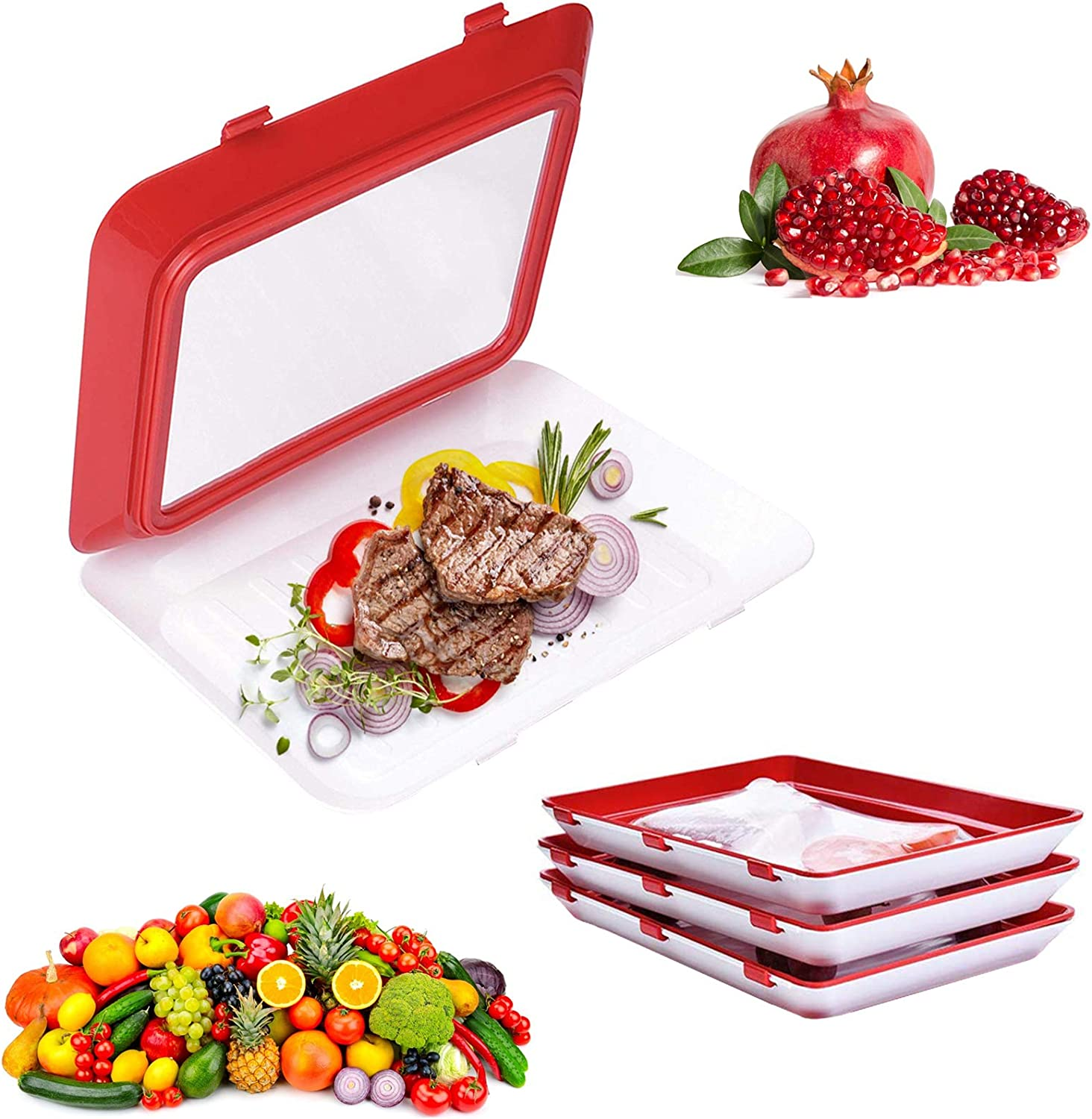 Food Plastic Preservation Tray,Reusable Creative Food Preservation Tray Stackable Food Tray to Save Refrigerator Space 4 Pack