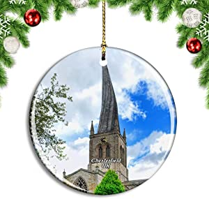 Weekino UK England Chesterfield Twisted Crooked Spire Christmas Xmas Tree Ornament Decoration Hanging Pendant Decor City Travel Souvenir Collection Double Sided Porcelain 2.85 Inch