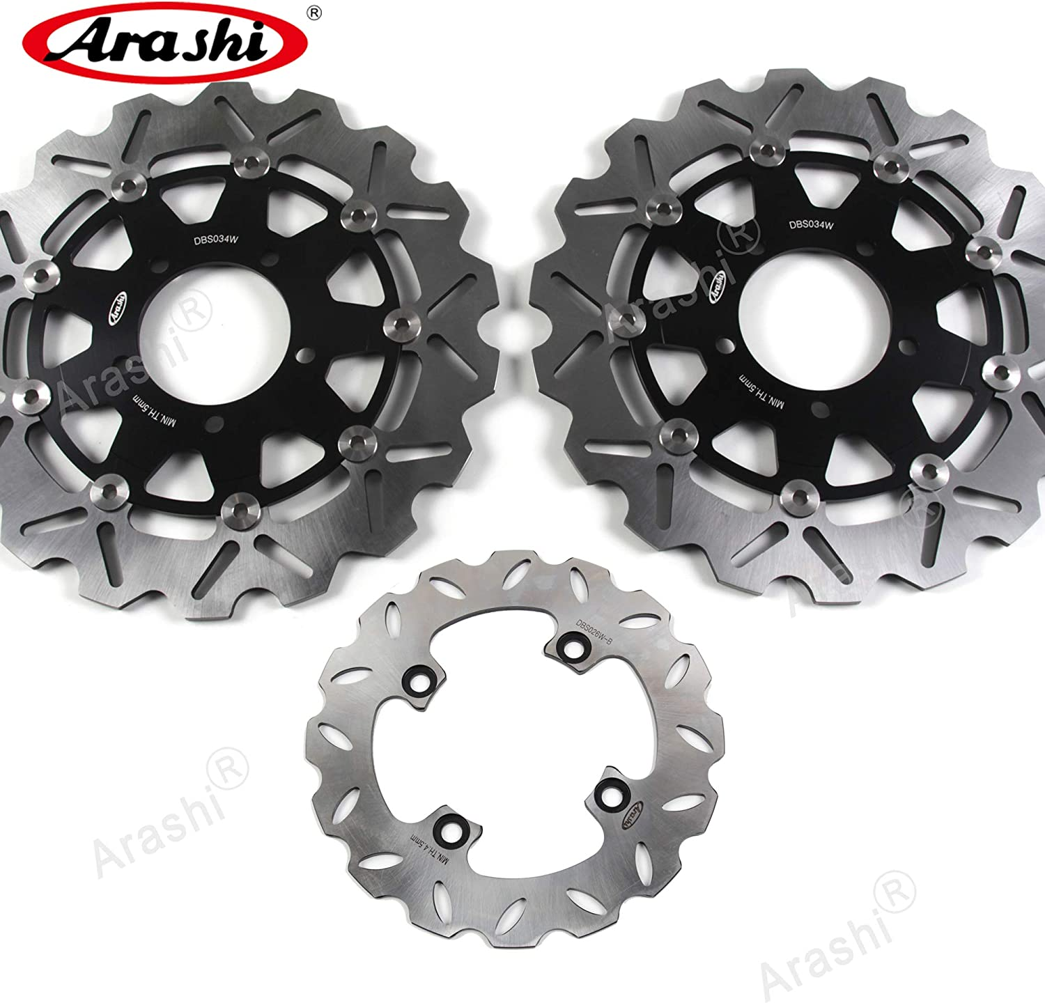 Arashi Brake Disc Rotors Front and Rear for Kawasaki Ninja ZX636 ZX6RR 2005-2006 / ZX6R 2007-2015 / ZX10R 04-07 / ER6N ER6F 06-15 / Versys 650 07-14 Motorcycle Accessories Black ZX-6R ZX-10R