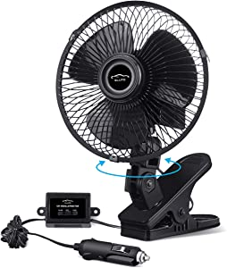 ELUTO 12V Car Cooling Fan for RV 6'' Truck Oscillating Fan Adjustable Portable Boat Clip Fans 360° Bus Fan 2 Speed Powerful Quiet Truck Fans Cigarette Lighter for RV Truck Bus Boat Van SUV Yacht