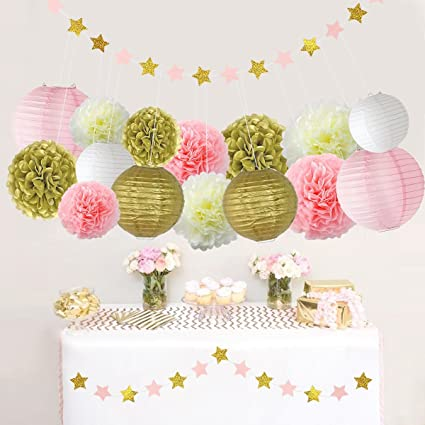 Amazoncom Litaus Pink And Gold Birthday Party Decorations Tissue