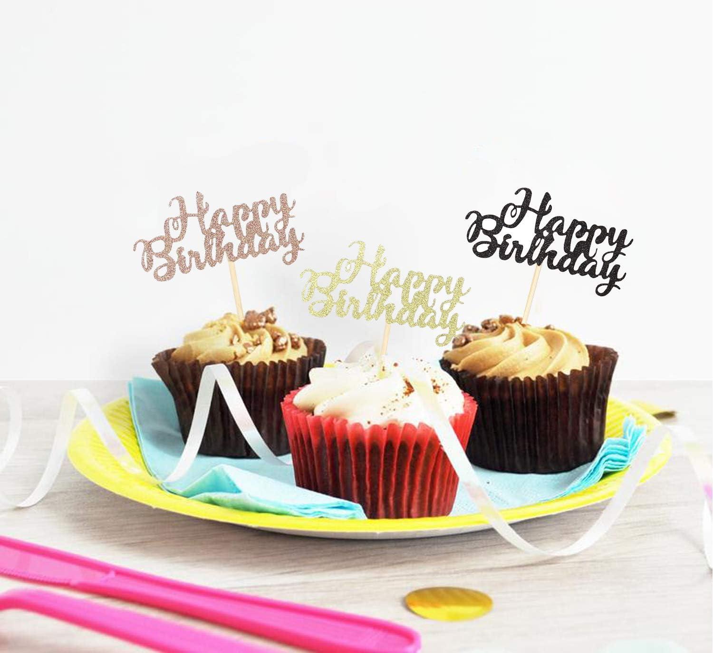 Sumerk 36PCS Glitter Happy Birthday Cupcake Toppers Birthday Cake Decorations Happy Birthday Cupcake Picks Baby Shower Anniversary Party Supplies
