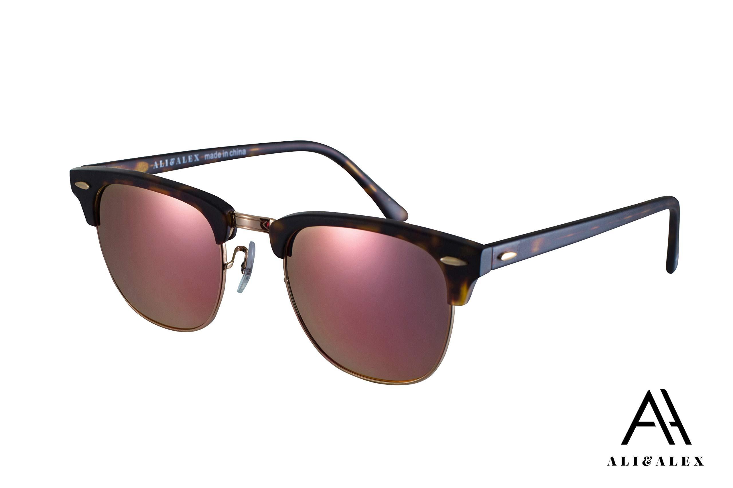 Ali&Alex Jamie Clubmaster Semi Rimless UV Polarized Adult Designer Sunglasses for Men & Women by Ali&Alex