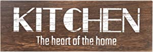 Soyo Hanging Wall Sign Rustic Wooden Wall Sign (Kitchen The Heart of The Home) Wood Wall Decoration,Brown