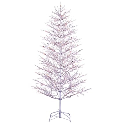 ge 5 ft indooroutdoor winterberry pre lit artificial christmas tree with multicolor
