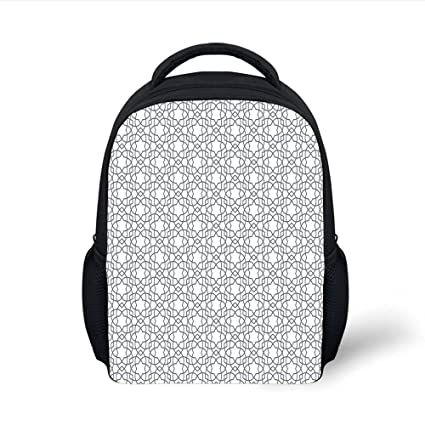 c436221c058 iPrint Kids School Backpack Geometric,Asanoha Pattern with Intertwined  Lines Traditional Japanese Hemp Leaf Design