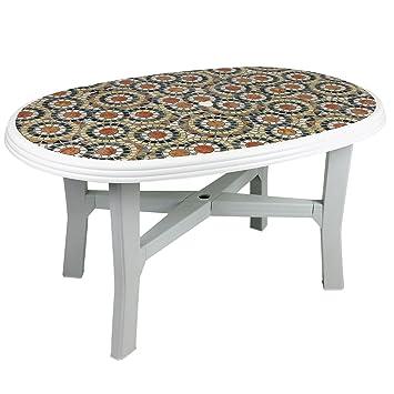 Solider Gartentisch 140x90cm Ovale Tischplatte Fliesen Mosaik Optik