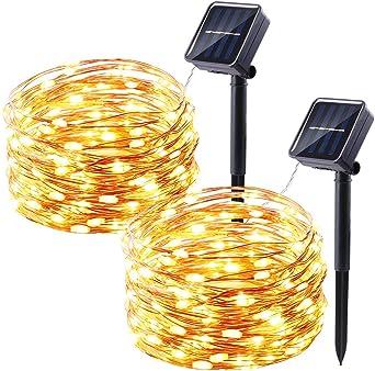Qedertek Luces Solar Guirnaldas Exterior, Cadena de luces de Alambre 10M 100 LED, Luces Guirnaldas Luminosas Decoraciones, Luz Blanca Calido para habitaciones (2 Pack): Amazon.es: Iluminación