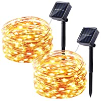 Qedertek Solar Christmas Lights, 2 Pack 100 LED Solar Fairy Lights with 8 Modes, 33ft/10m Waterproof Fairy Copper Lights for Garden, Patio, Wedding, Party, Christmas Tree Decorations. (Warm White)