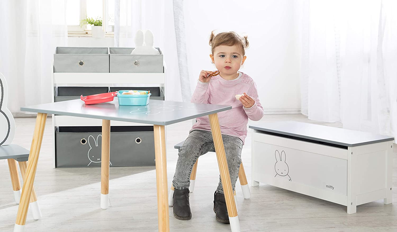 Roba Miffy colore: bianco in legno Cassapanca per bambini con seduta apribile e ammortizzatore