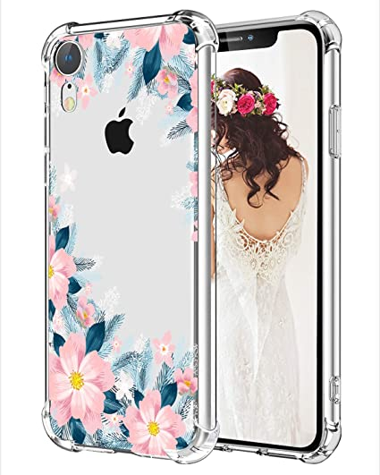 huge selection of cba4a 4b8ee Hepix Floral iPhone XR Case Blooming Flowers Clear iPhone Case Slim  Protective Cover Cases TPU Frame Anti-Scratch Shock Absorbing Case with  Reinforced ...