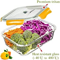 PREMIUM QUALITY 1040 ML Glass Food Storage Containers - Meal Prep Containers - Reusable Microwave ,Oven, Freezer & Dishwasher Safe BPA Free Lunch Containers with Smart For Snap Locking Tritan Lid Guarantee 100% Airtight Leakproof