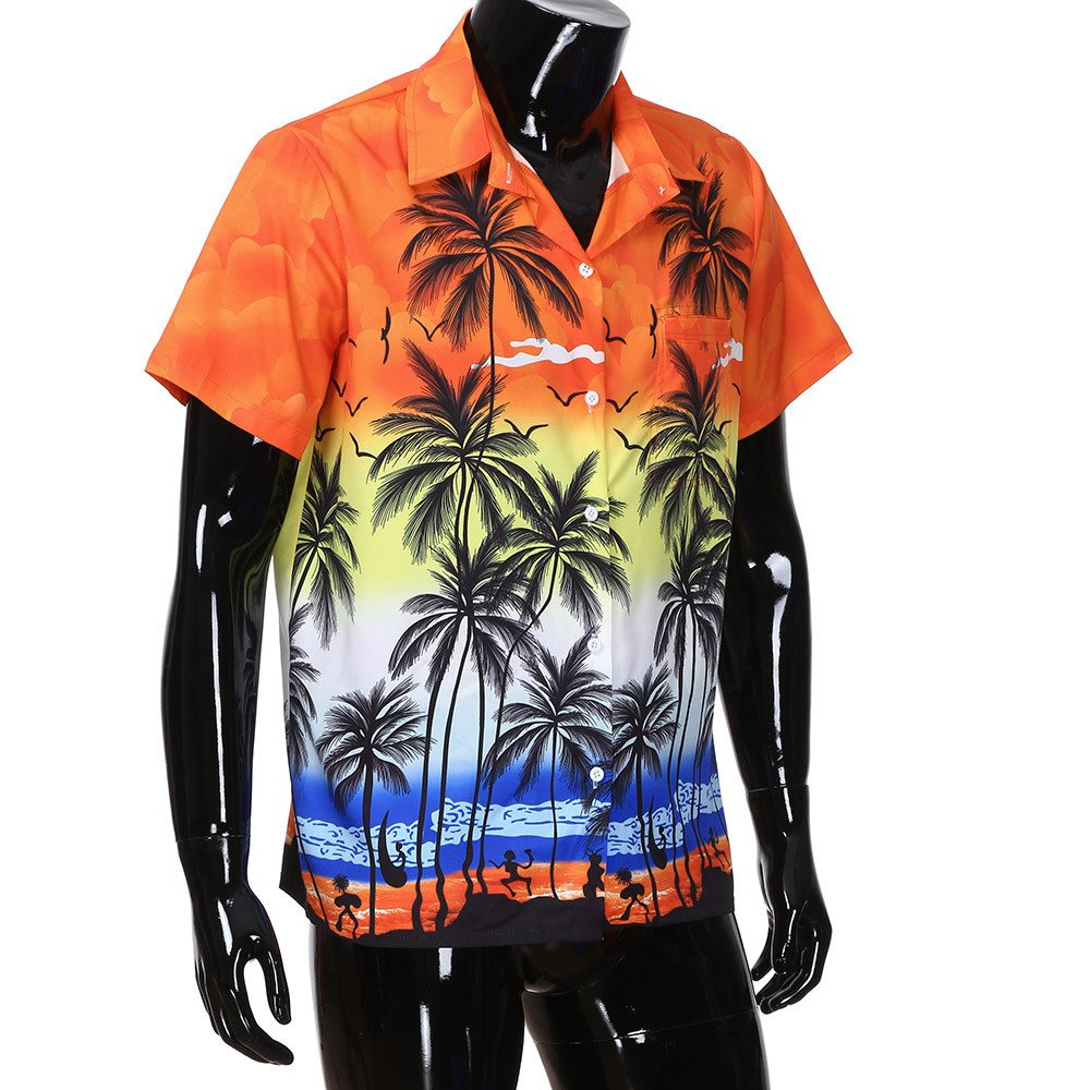 Xlala Hawaii Style for Mens Shirts Summer Printed Slim Fit Short Sleeve Stand Collar Button Top Beach Vacation Style Personality Blouse