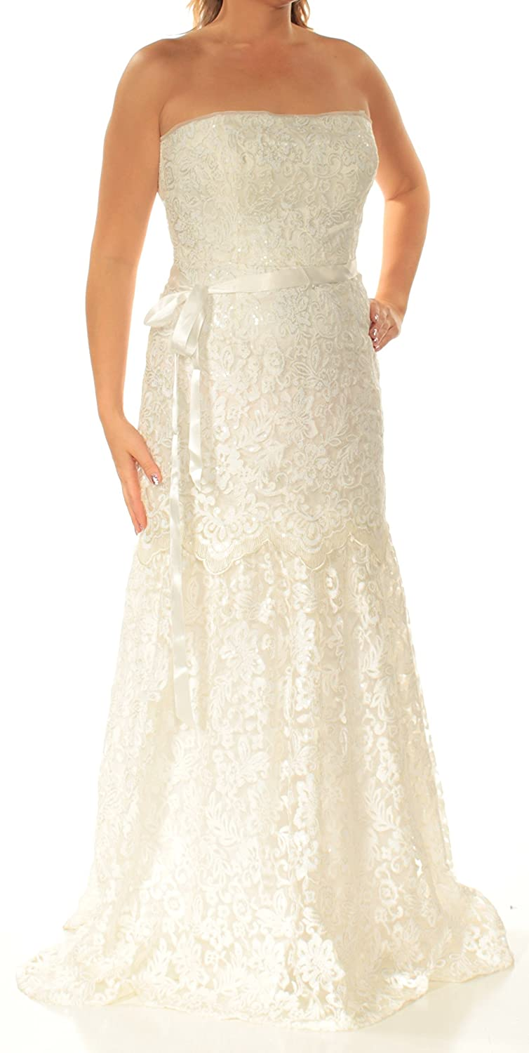 8d19ce1b319a Adrianna Papell Womens Ivory Belted Sequined Sleeveless Strapless  Full-Length Fit + Flare Formal Dress Size: 14: Amazon.co.uk: Clothing