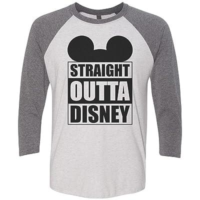 "Mens Or Womens Disney Baseball Tee - ""Straight Outta Disney"" Mickey Mouse 3/4 Sleeve Raglan"