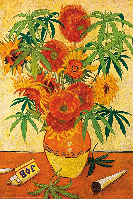 Studio B Vincent Van Joint Marijuana Plant Pot Weed Funny Cool Wall Decor Art Print Poster 60x90 Amazon Co Uk Kitchen Home