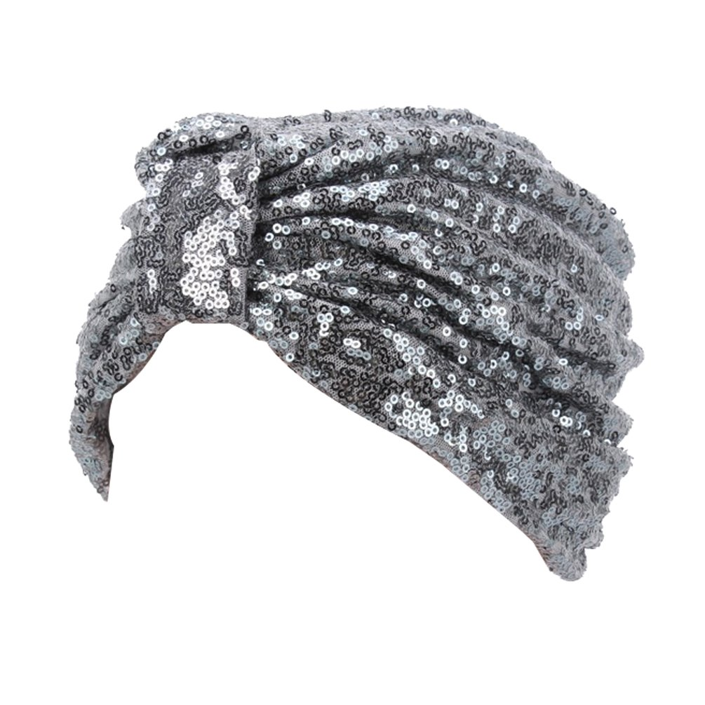 Hippie Hats,  70s Hats Decou Sparkly Sequin Twist Pleated Hair Wrap Stretch Turban S232 $9.99 AT vintagedancer.com