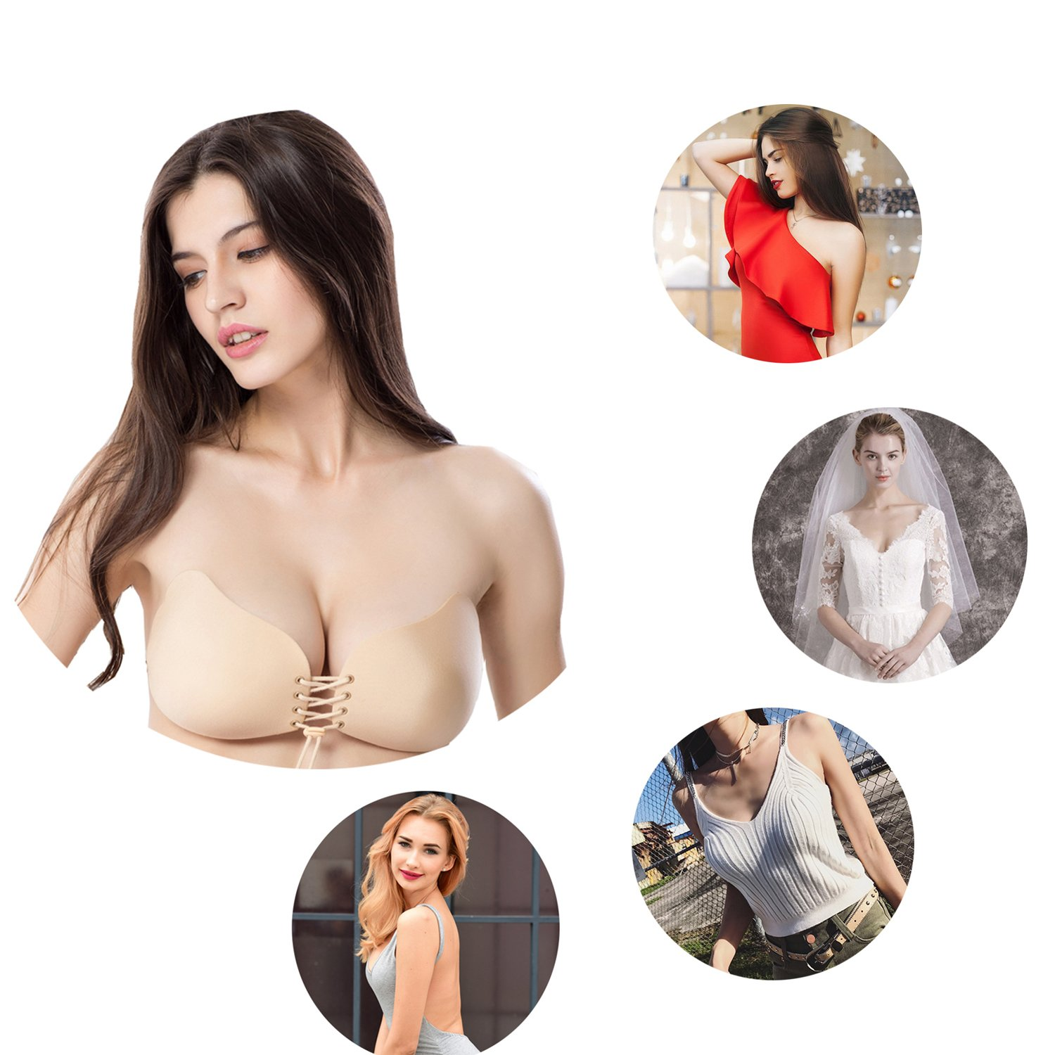208d14a95b SNUG STAR Wings-shaped Strapless Self Adhesive Silicone Invisible Push-up  Backless Bras