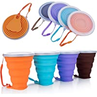 Collapsible Silicone Cup, DEHUB Silicone Collapsible Travel Cup, Portable Coffee Mug with Lids, Larger Capacity 270ML…
