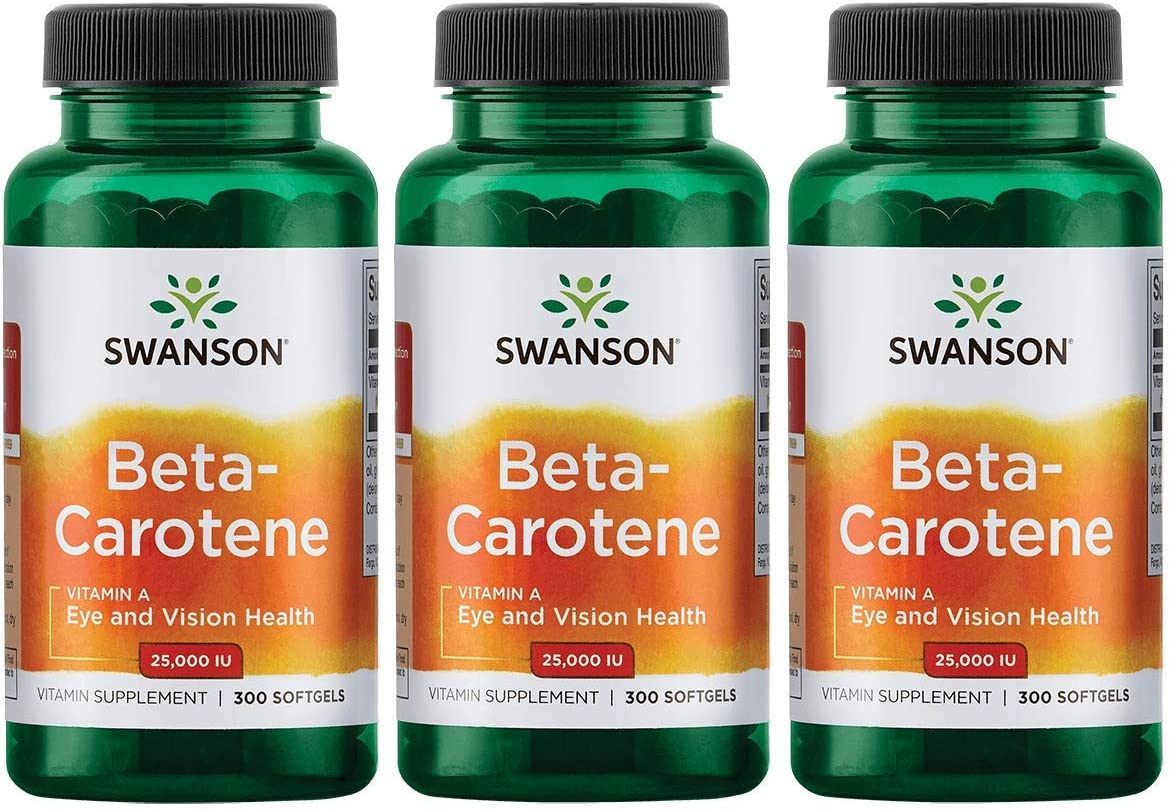 Swanson Beta-Carotene Vitamin A 25000 IU Skin Eye Immune System Health Antioxidant Support 7500 mcg 300 Softgels Count (3 Pack)