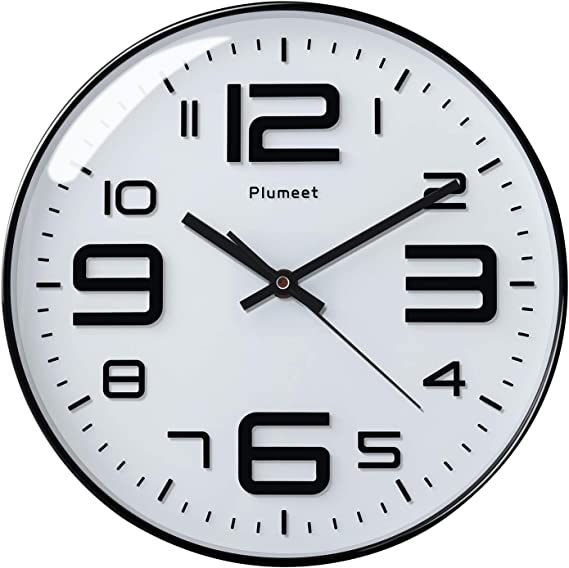 Amazon Com Plumeet Silent Wall Clocks 12 Non Ticking Quartz Large Decorative Clocks Big 3d Number Good For Living Room Home Office Battery Operated White Home Kitchen