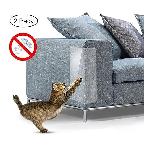 AOLVO Mascotas Sofá Protector – 2 Piezas Muebles Antiarañazos Pegatina Transparente Autoadhesivo Rascador para Gato Garra