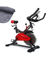 Vélo d'Appartement SX100 Vélo de Biking, Poids d'inertie de 13 KG, Support capitonné Bras, Selle Confortable, vélo d'intérieur Silencieux, Tapis de Protection Inclus