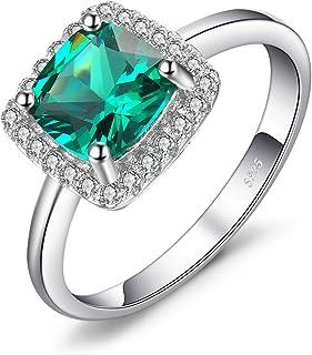 JewelryPalace Gioiello Cuscino 2.3ct Quadrata Artificiale Nano Russo Verde Smeraldo Halo Anello di Fidanzamento Argento Sterling 925