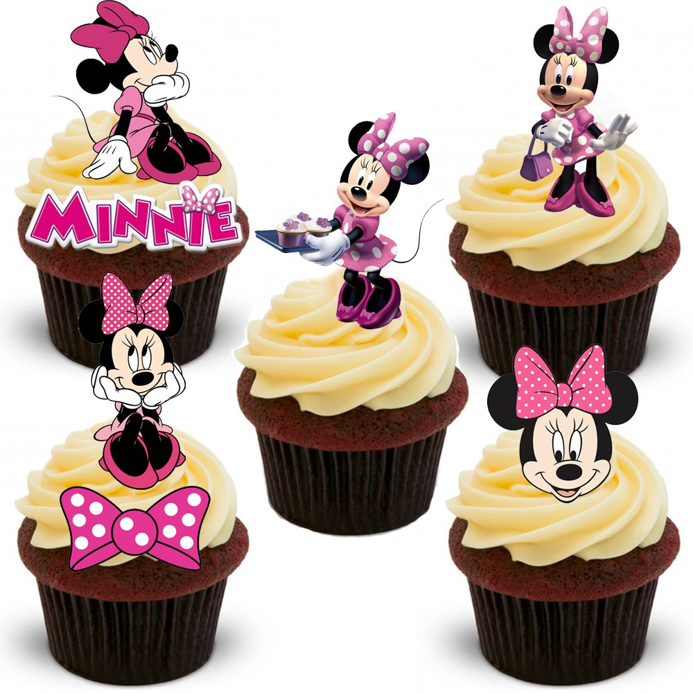 18 Stand Up PINK Minnie Mouse Premium Edible Wafer Paper Cake Toppers