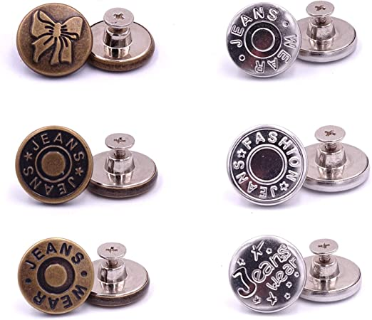 willikiva Replacement Jean Buttons 6 Sets 20mm Instant Buttons Adjustable Button No Sew Combo Copper Tack Buttons Metal Button(Z084)
