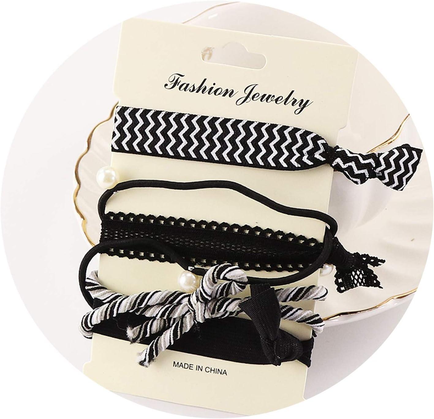 5Pcs Set ragazza della stampa fasce elastiche dei capelli Carino Band Scrunchie gomma corda nodo dei capelli capelli delle donne Accessori Ponytail,1