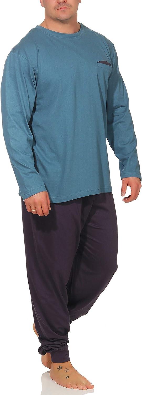 Langer Schlafanzug Baumwolle Rundhals oder V-Ausschnitt weicher Warmer Pyjama 5 Verschiedene Modelle und Farben w/ählbar Gr/össe 50//M 56//XXL