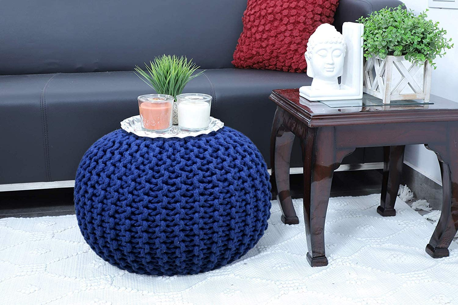 23 X 16 inch RAJRANG BRINGING RAJASTHAN TO YOU Pure Cotton Stuffed Pouf Hand Knitted Braided Cotton Cord Round Ottoman Small Space Bedroom Decorative Seating Blue