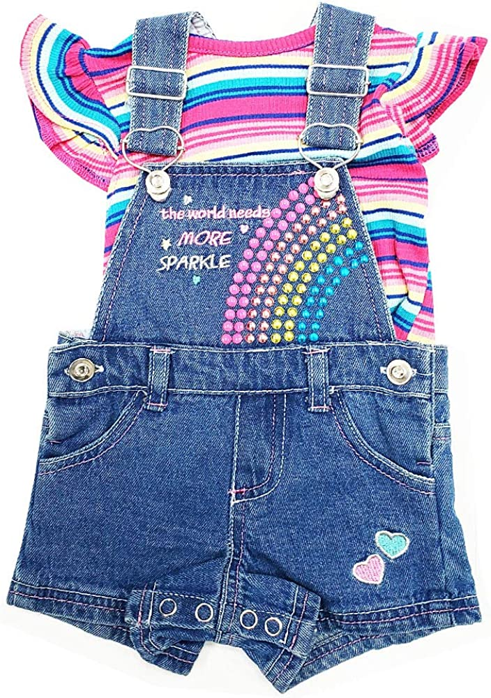 Little Lass NWT Infant Girls 2-Pc Stripe Top /& Overalls Blue Shorts Set 0-9 Months
