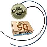 Pack Portalamparas para Gu10 con Cable Extralargo 20 Centimetros. color blanco, Standard. (Pack 50x)