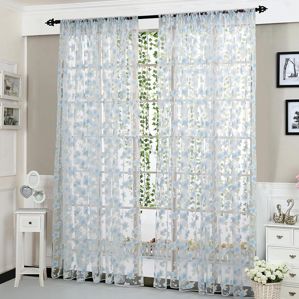 Mikolotuk Window Screening Curtain Living Room Bedroom Home Door Window Drape Panels Treatment(Light Blue)