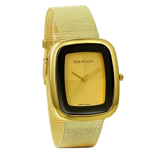 ... de cuarzo con correa de malla, pulsera de acero inoxidable, reloj cuadrado elegante para mujer, estilo casual para cualquier ocasión: Amazon.es: Relojes
