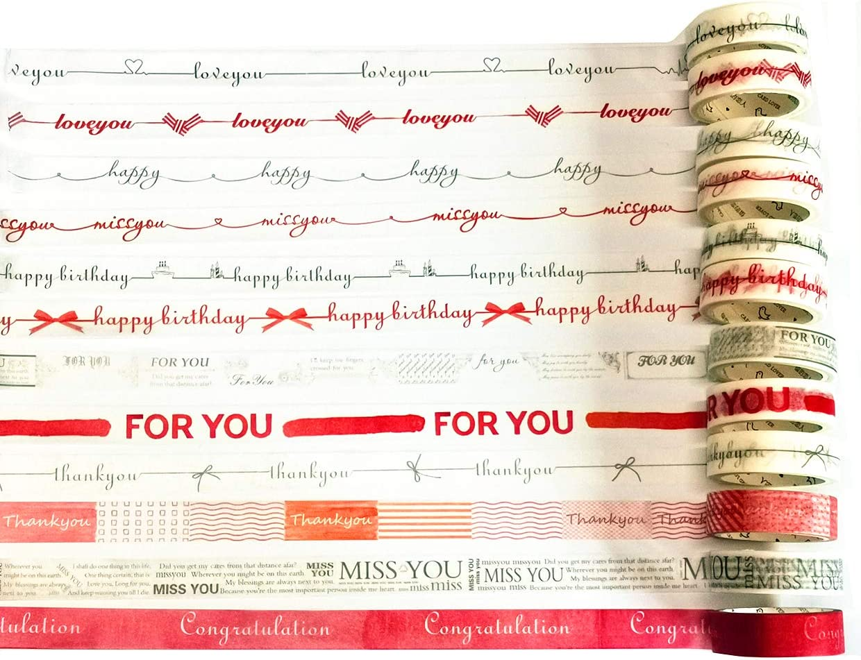 12 Designs Mixing 12 Pack Washi Tape Decorative Adhesive Masking Tapes with Words Thank You Love You Happy Birthday Congratulation Missing You for Gift Package Wrapping and Party Scene Project