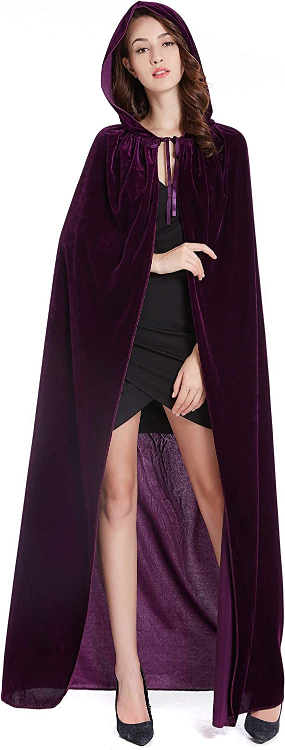 DIFLY 59 Velvet Hooded Cape Unisex Halloween Cloak for Devil Witch Wizard Halloween Christmas Cosplay