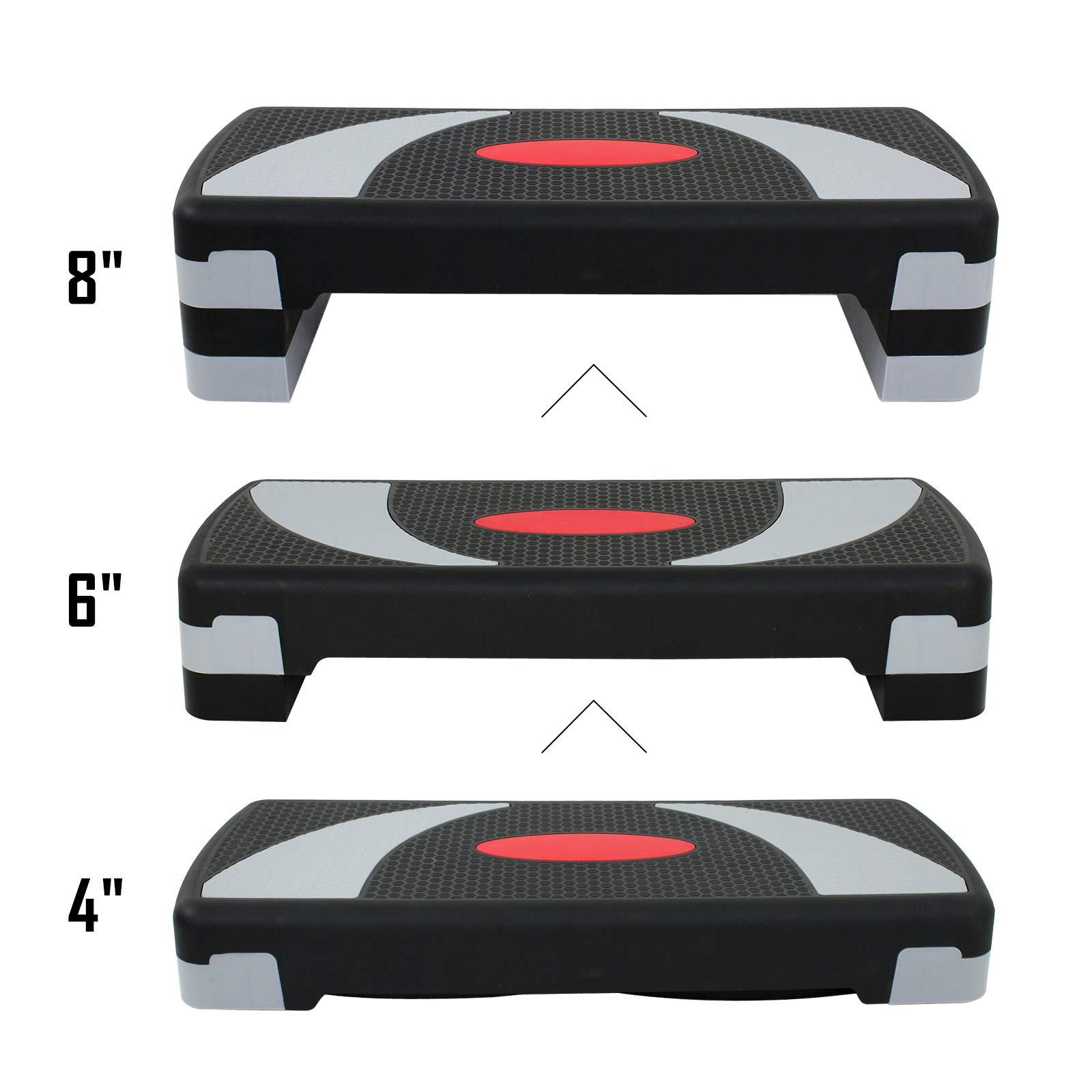 ZENY 31'' Aerobic Stepper Platform Aerobics Trainer Adjustable Exercise Fitness Workout Stepper Adjust 4'' - 6'' - 8'' by ZENY