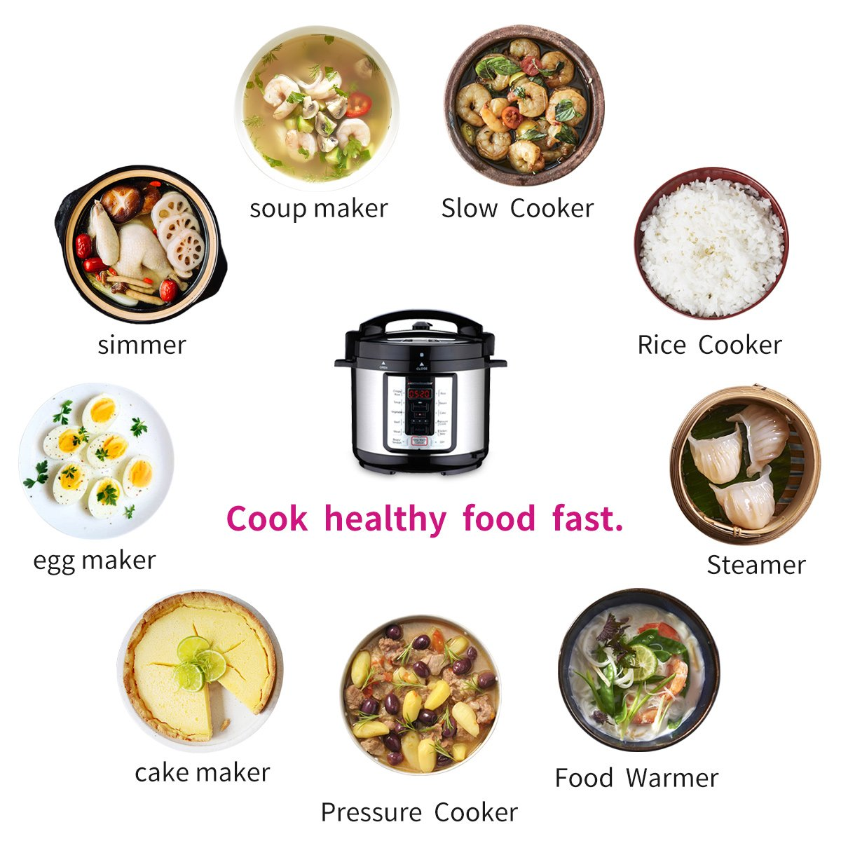 Homeleader 9-in-1 Multi-Use Programmable Pressure Cooker, Digital Electric Pressure Cooker, Rice Cooker, Slower Cooker, Soup Maker, Crock Pot and Warmer, 6Qt Stainless Steel Pot by Homeleader (Image #5)