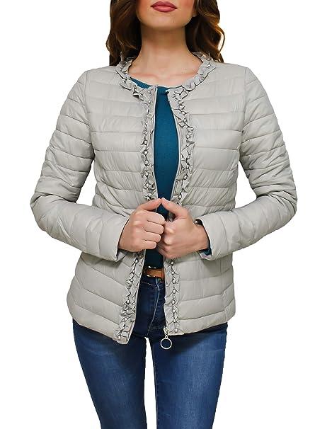sale retailer 38f84 12798 Evoga Giubbotto Piumino Donna Leggero Casual Elegante Giacca Giubbino 100  Grammi con Perline