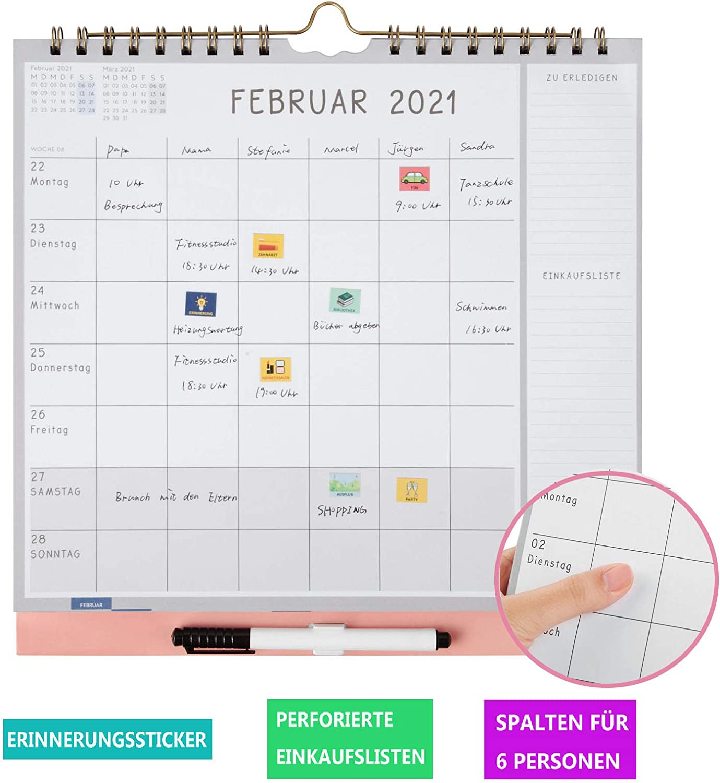 Wochenplaner mit Stickern f/ür Familien Wandkalender 2021 mit 6-Spalten /& Wochenansicht KOHMUI Familienplaner 2021 16-monatiger Kalender 2020 2021 ab sofort nutzbar bis Dez/'2021