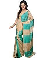 Bengal Handloom Saree Women's Silk Cotton With Blouse Piece (Hts3_Aqua)