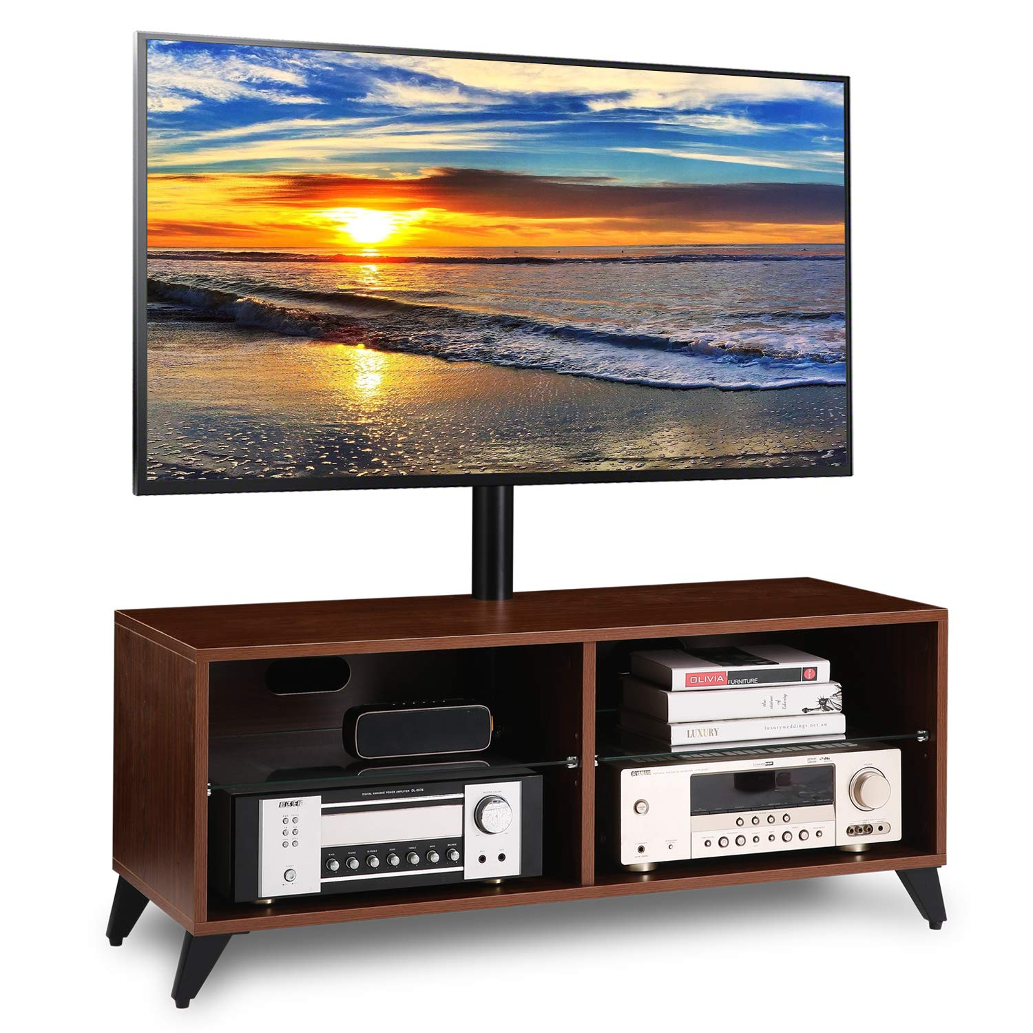 5Rcom Universal Floor Wood TV Stand Console with Swivel Mount for 32 37 42 47 50 55 60 65 inch LCD LED OLED QLED Flat Panel and Curved Screen TVs Height Adjustable Storage Shelf for Media,Walnut by 5Rcom