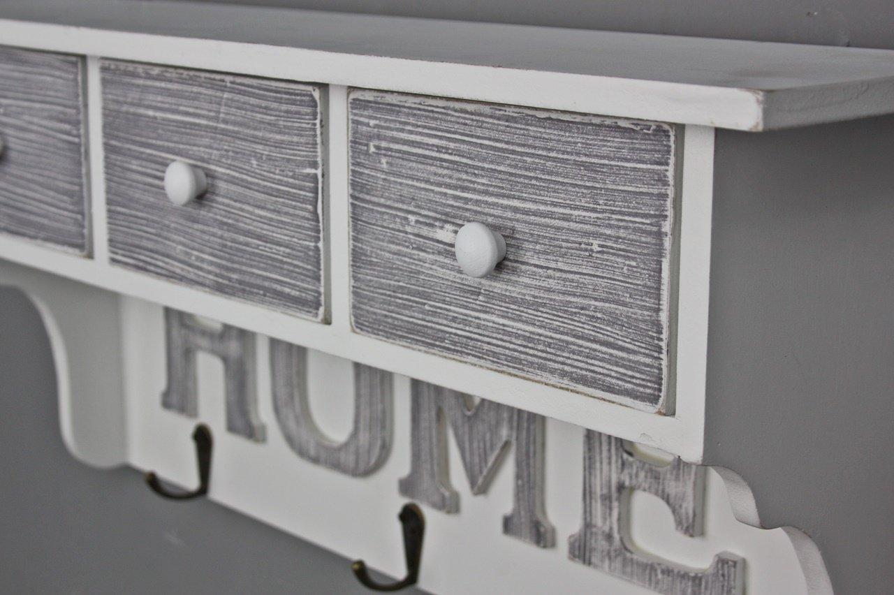 Elbmöbel garderobe in weiß grau mit drei schubladen: amazon.de ...
