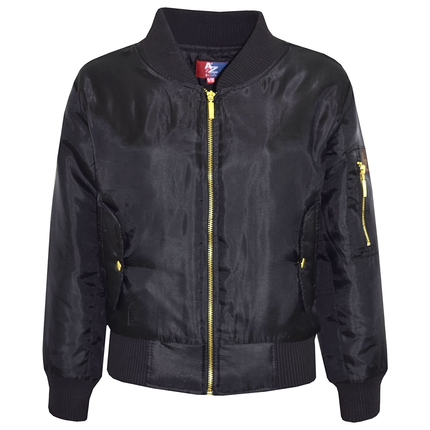 A2Z 4 Kids/® Kids Jacket Girls Boys MA1 Ruched Sleeves Bomber Padded Zip Up Biker Jacktes MA 1 Coat New Age 3 4 5 6 7 8 9 10 11 12 13 Years