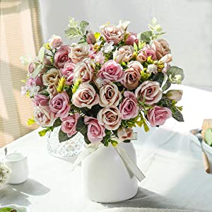 LESING Artificial Silk Rose with Vase Fake Flowers Wedding Flowers Bouquets Arrangement Home Office Party Centerpiece Table Decoration (Purple)