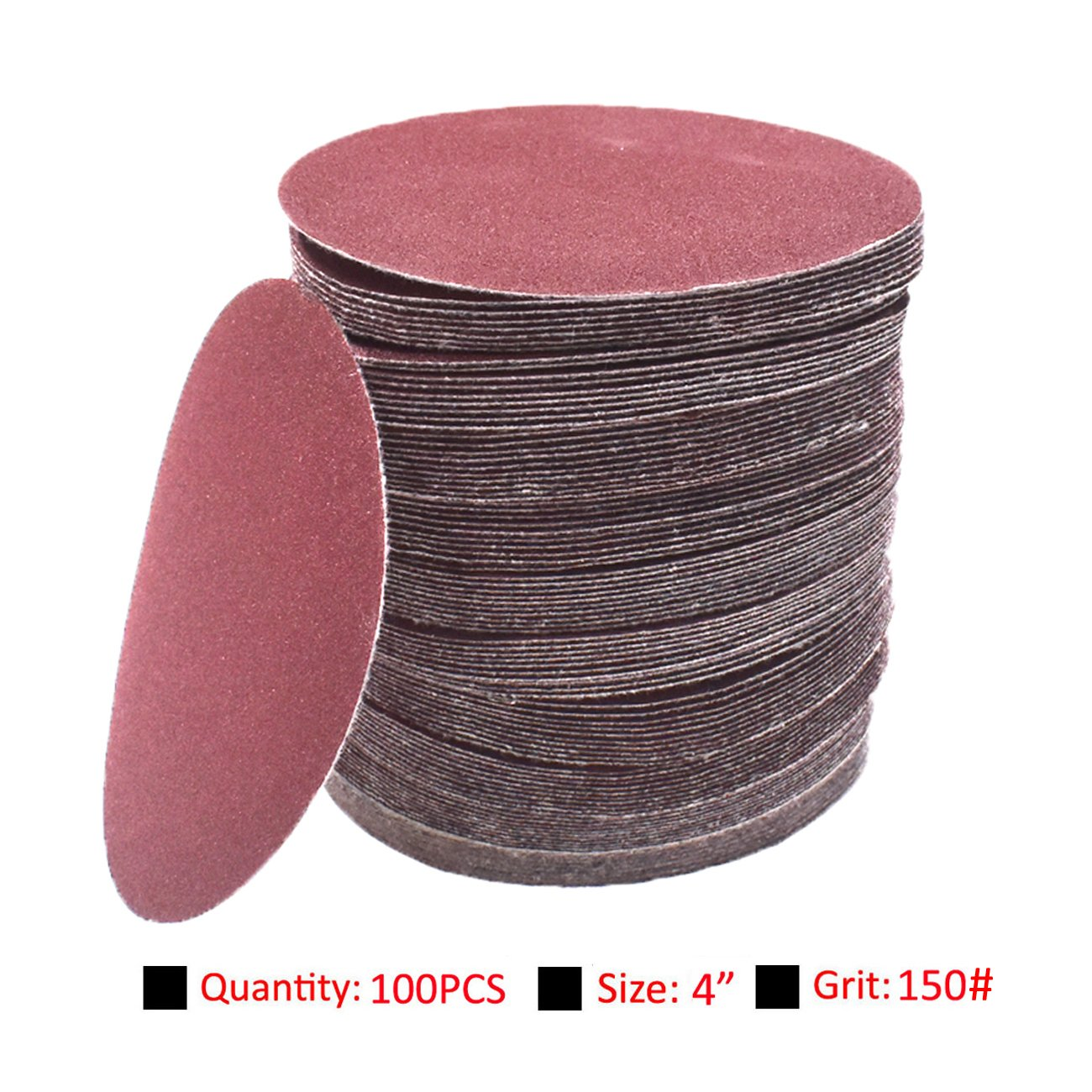 NAVARME 100pcs 100mm 4 Inch Sanding Disc 150 Grit Orbital Sander Pads Abrasive Sandpaper