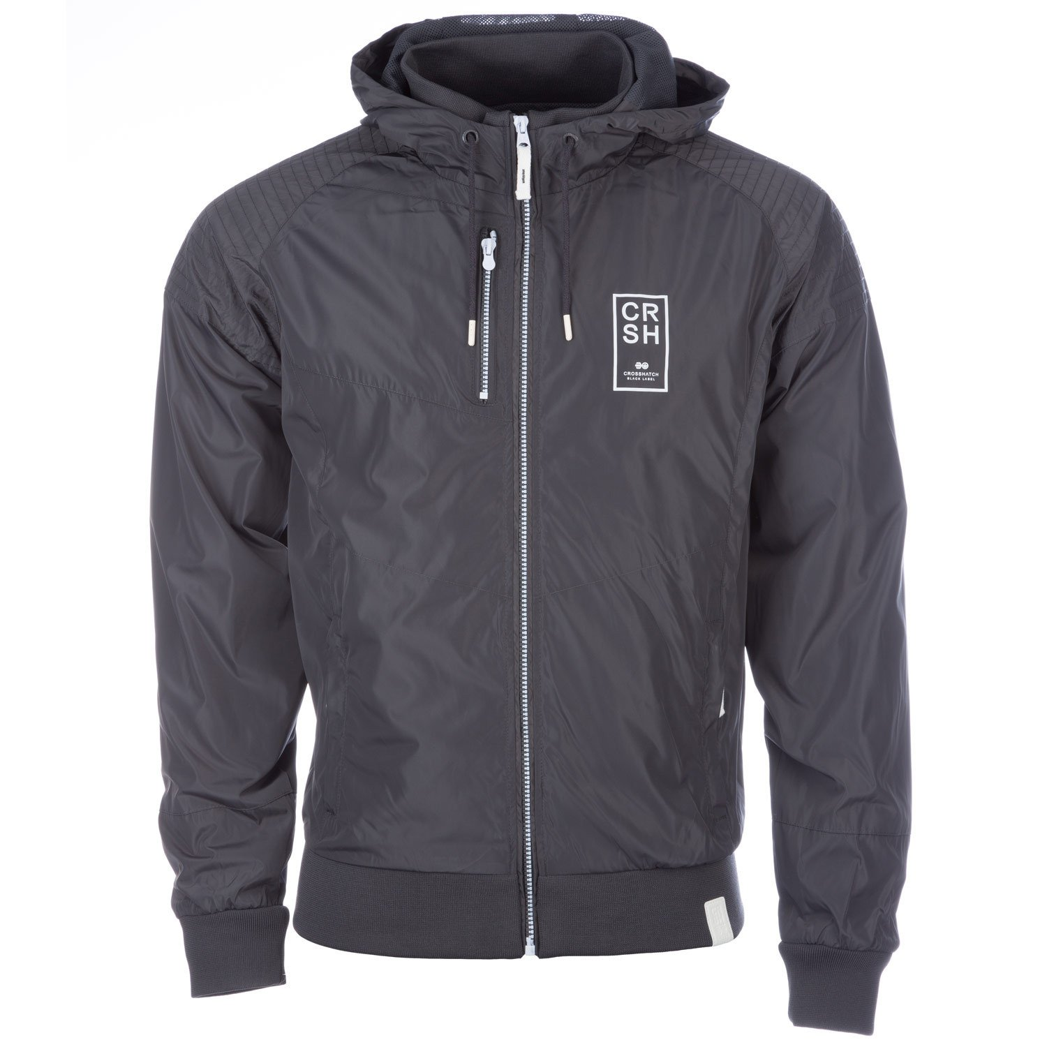 Grey Crosshatch Mens Voisin Hooded Jacket